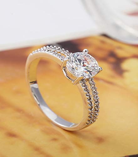- LVLONG Drill/Four Claw/1 Carats/Micro Set/Double Row Ring/Female/Wedding/Simulation Ring/Imitation Diamond Ring/Jewelry/