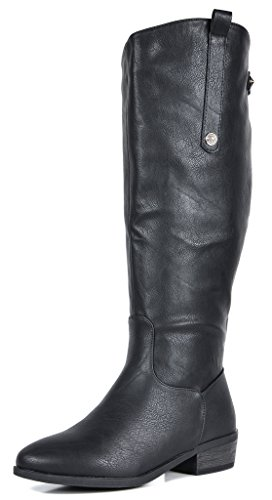 Calf Large Leather (DREAM PAIRS Women's Black Luccia-W Knee High Winter Riding Boots Wide Calf Size 7.5 B(M) US)