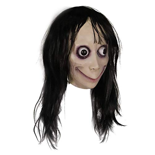 Creepy Momo Mask, Scary Momo Challenge Games Evil Latex Mask with Long Hair, Halloween Costume Party Props Black]()