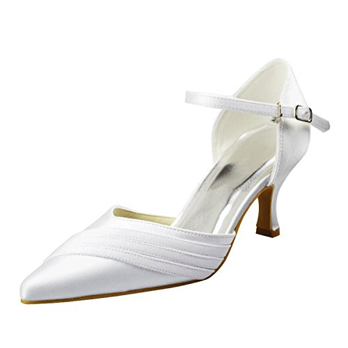 Pumps Toe Single Strap Ivory Minishion Womens Party Shoes Pointed 5cm Bridal Wedding Satin Formal 6 Heel Girls qwXq7tI