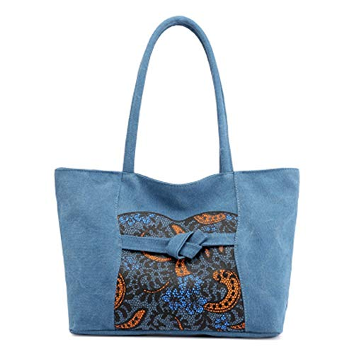 Unico Moda Lady Color Pure Bolso Capacidad Ligero Ocio Lienzo 1379 Tuladuo Viaje Bolsa Gran De Azul Slant dqAxwXTgq