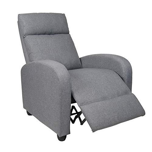Polar Aurora Single Manual Recliner Chair Padded Seat PU Leather/Fabric Living Room Sofa Modern Recliner Seat Home Theater Seating for Living Room (Gray -Fabric)