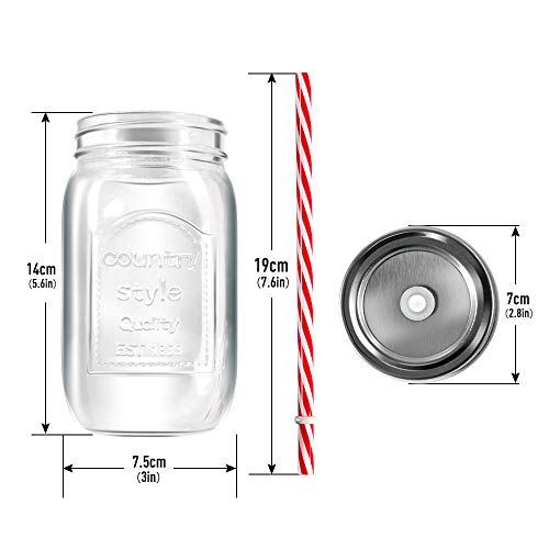 Mastertop 6 Pcs 16.9 Ounce Mason Drinking Jars with Lids  Recycled Glass Bottles and Drinking Straws with 3 Extra Sealing Lid by Mastertop (Image #5)