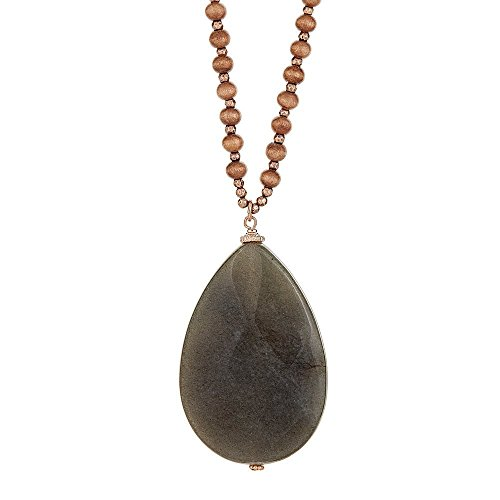 [Handmade Pear Shape Natural Stone Pendant Necklace with Color Wood Beads] Brown-Gray - Wood Marron