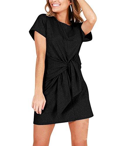 Gutai Lace Women's Jersey Short-Sleeve Scoop Neck Casual Knot T-Shirt ()