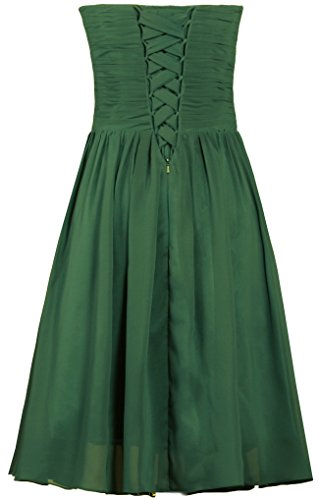 Green Hunter Short Strapless Bridesmaid Gowns ANTS Party Dresses Chiffon Cocktail zfvAS