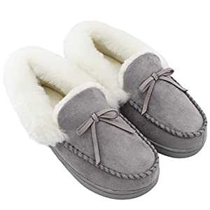 41fZ%2B7F6DZL. AA300  - Women's Comfort Memory Foam Slippers Wool-Like Plush Fleece Lined House Shoes w/Indoor, Outdoor Anti-Skid Rubber Sole (Medium/7-8 B(M) US, Black)