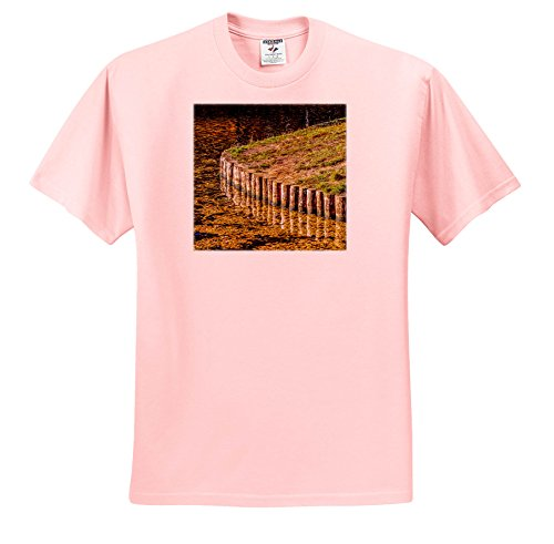 Alexis Photography - Seasons Autumn - Pond Shore Strengthened With Wooden Logs. Autumn Season - T-Shirts - Adult Light-Pink-T-Shirt Small (Autumn Pond)