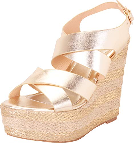 - Cambridge Select Women's Crisscross Strappy Striped Espadrille Chunky Platform Wedge Sandal,8.5 B(M) US,Champagne PU