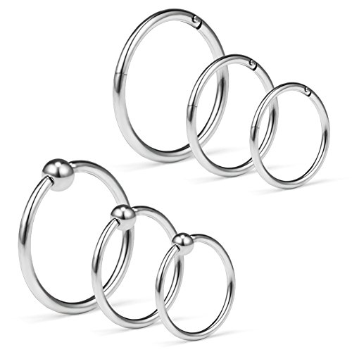 SCERRING 6PCS 16G Captive Bead Rings & Hinged Seamless Septum Nose Ring Hoop Ear Lip Piercing Clicker Rings 8-12mm - - Captive 16g Ring