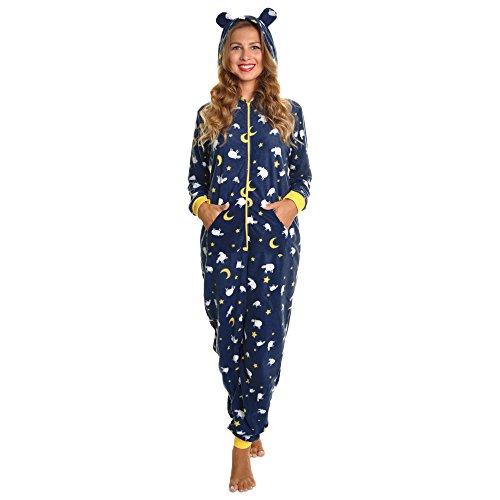 Angelina Women's Fleece Novelty One-Piece Hooded Pajamas, PJ1Z_Sheep_LXL