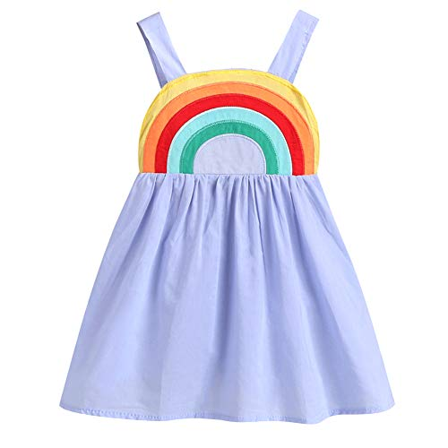 (Frogwill Toddler Girls Fifties Summer Dress Blue Rainbow 2-7Y (2T,)