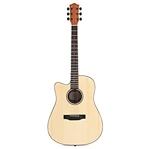 Donner Left Handed Acoustic Guitar Cutaway DAG-1CL 41 inch Full-size Beginner Guitar Package with Big Bag Tuner String Strap Capo from Donner