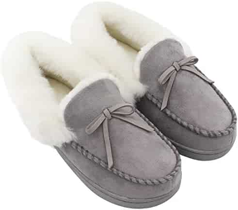 HomeIdeas Women's Faux Fur Lined Suede House Slippers, Winter Indoor Outdoor Moccasins