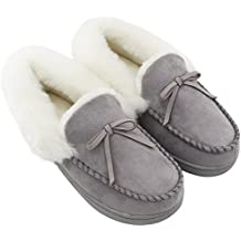 HomeIdeas Women's Faux Fur Lined Suede House Slippers, Breathable Indoor Outdoor Moccasins