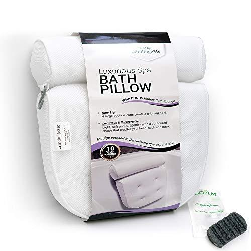 Harrison House Luxurious Bath Pillow - Plus Konjac Bath Sponge, Extra Large Suction Cups, Quick...
