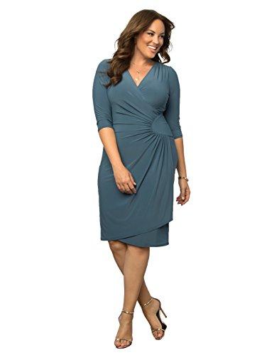 Kiyonna Women's Plus Size Ciara Cinch Dress 3X Misty Blue