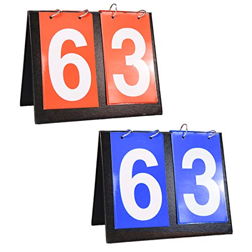 Shangyuan Portable Flip Scoreboard - Score Board for Baseball Football Soccer Ping Pong Football Volleyball Basketball Table Tennis Track Field, Coach & Referee Gear (1 Blue 1 Red)