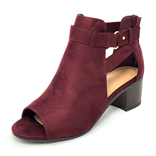 - City Classified Invest Women's Cutout Side Strap Mid Block Chunky Heel Fashion Ankle Bootie Boots (6.5 M US, Vino New)