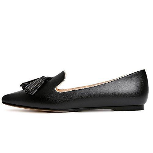 Neuf Sept En Cuir Véritable Womens Bout Pointu Glands À La Main Élégant Appartements Chaussures Noir