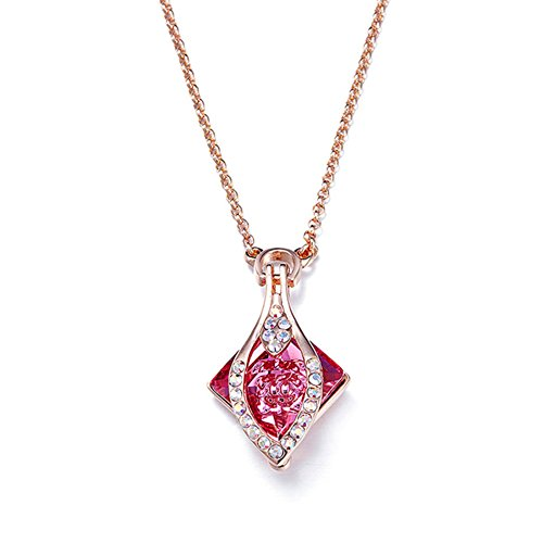 (VERA NOVA JEWELRY Exquisite Square Shaped Gold Plated Pendant Necklace Made with Crystals from Swarovski)
