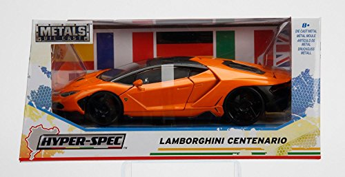NEW 1/24 W/B JADA TOYS COLLECTION - Hyper-Spec - Orange Lamborghini Centenario Diecast Model Car By Jada Toys