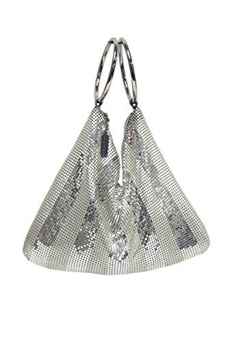 Bag Inge Christopher Evening (Whiting and Davis Matte-Shine Stripes Bracelet Bag (Silver))