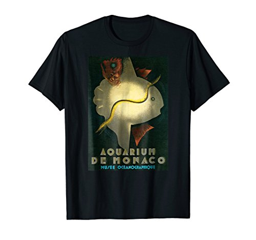 Vintage Aquarium Monaco Art Deco T-Shirt Fish Tee Shirt ()