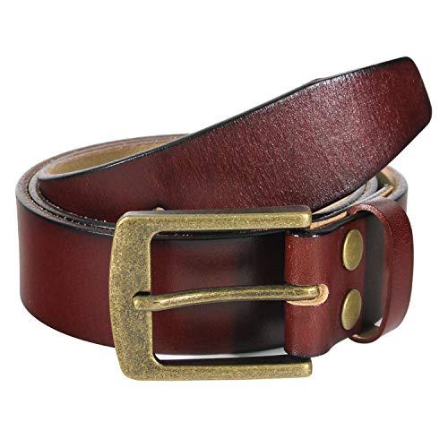 (NPET Men's Genuine Leather Belt Full Grain Snap On Belts 1.5