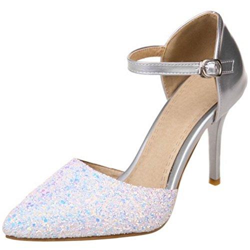 COOLCEPT Mujer Moda Correa de Tobillo Sandalias Tacon de Aguja Cerrado Zapatos Tamano Plata