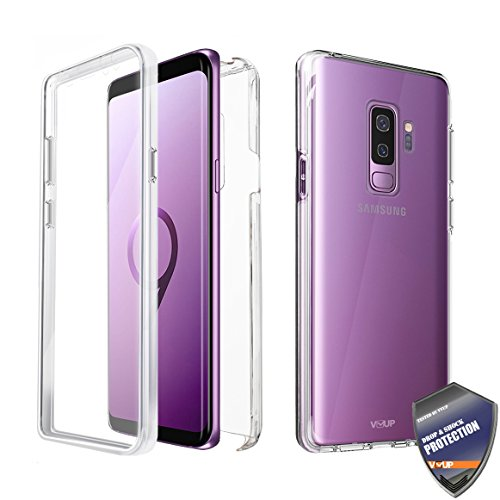 Samsung Galaxy S9 Plus Slim Full Body Coverage Built-in Screen Protector Hard Clear Back Case Cover (Clear)