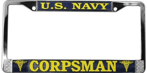 U.S. Navy Corpsman License Plate Frame (Chrome Metal)