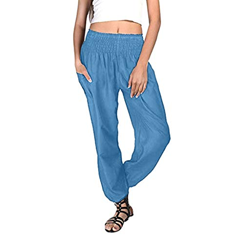 ZEFOTIM Women Plus Size Solid Color Casual Loose Harem Pants Yoga Pants Women Trousers (4XL,A-Blue) ()