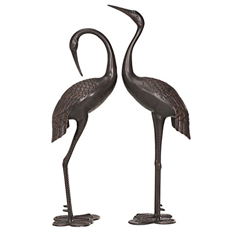 Sunjoy Cast Aluminum 2pcs Garden Accent Decor Crane Set