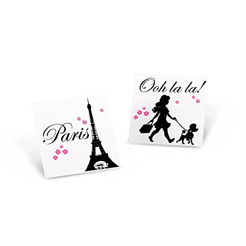 [Paris Eiffel Tower Damask Party Supplies - Tattoos (8)] (Pink Poodle In Paris Tattoos)