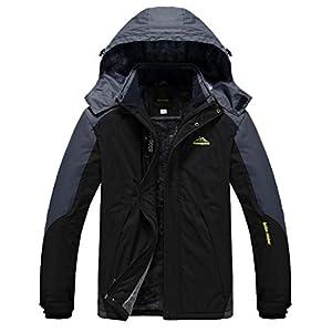 Heihuohua Men's Mountain Winter Waterproof Ski Jacket Windproof Fleece Lined Outdoor Hiking Coat