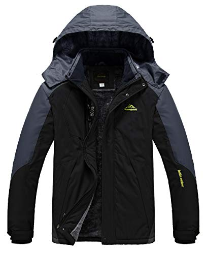 Heihuohua Men's Mountain Winter Waterproof Ski Jacket Windproof Fleece Lined Outdoor Hiking Coat