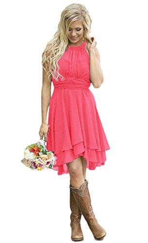Andybridal Womens Country High Low Halter Chiffon Bridesmaid Dress Western Wedding Guest Dress