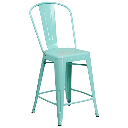 "Flash Furniture ET-3534-24-MINT-GG Colorful Restaurant Counter 24"" Mint Metal Outdoor Stool, 1 Pack, Green"