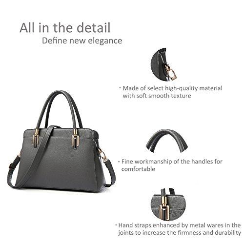 RUIREN Damen Umhängetasche Multifunktionstaschen, Schulter Handtaschen für Frauen Dunkle Gary
