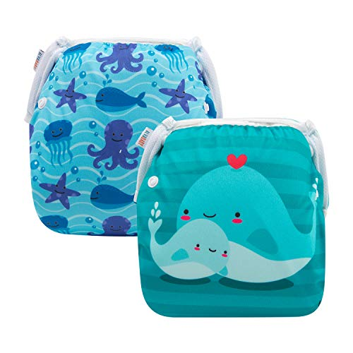 Alva Baby Swim Diapers 2pcs One Size Reuseable Washable & Ad