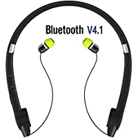Retractable Bluetooth Headphones Neckband, Bluetooth Stereo Headset Cell Phone Bluetooth Earpiece Hand Free Bluetooth Headset Retractable Earbuds with Case, Long Batteries Life for Workout