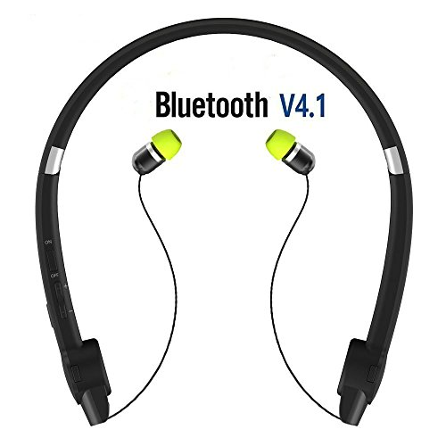Bluetooth Headphones Neckband, SUPERSUN Retractable Bluetooth Headphones Bluetooth Stereo Headset Cell Phone Bluetooth Earpiece Hand Free Bluetooth Headset Retractable Earbuds with Case
