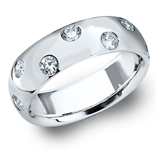 14K White Gold Etoile Diamond Ring (.25 cttw, H-I Color, I1-I2 Clarity) Size 6.5 Etoile Band