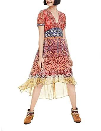 Desigual Womens Vest_Nana Short Sleeve Dress - Orange - EUR 36