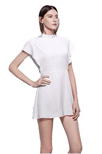 Strandkleid Frauen Schwingekleid A Kleid Sommerkleid Damen Oudan Chiffon Ärmellos Alltagkleid Weiß Cocktailkleid Linie agS8wwqIx