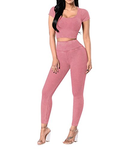 Women Sexy Crewneck Short Sleeve Ribbed Bodycon Party Clubwear 2 Pieces Jumpsuit Pink S