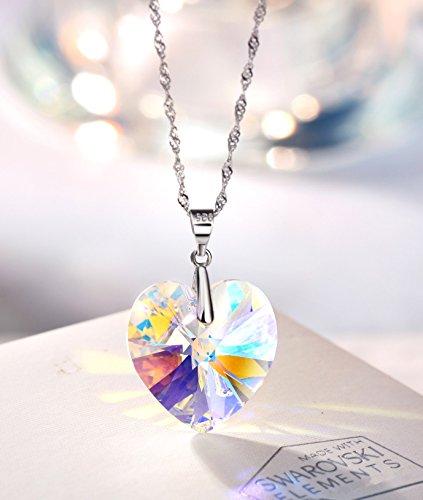 NEOGLORY Conjunto Collar Pendientes Plata de Ley 925 Corazón Cristales SWAROVSKI Joya Original Regalo Mujer Chica