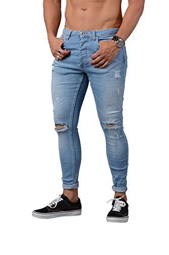 Jeans Stretch Mode Pantaloni Blau Da Denim Strappati Di Blu Skinny Bolawoo Lavati Ginocchia Rten Tagliati Marca Uomo Cher zInFdIq