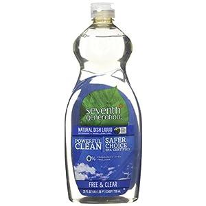 Seventh Generation Dish Liquid, Free & Clear, 25 oz (Pack of 6)